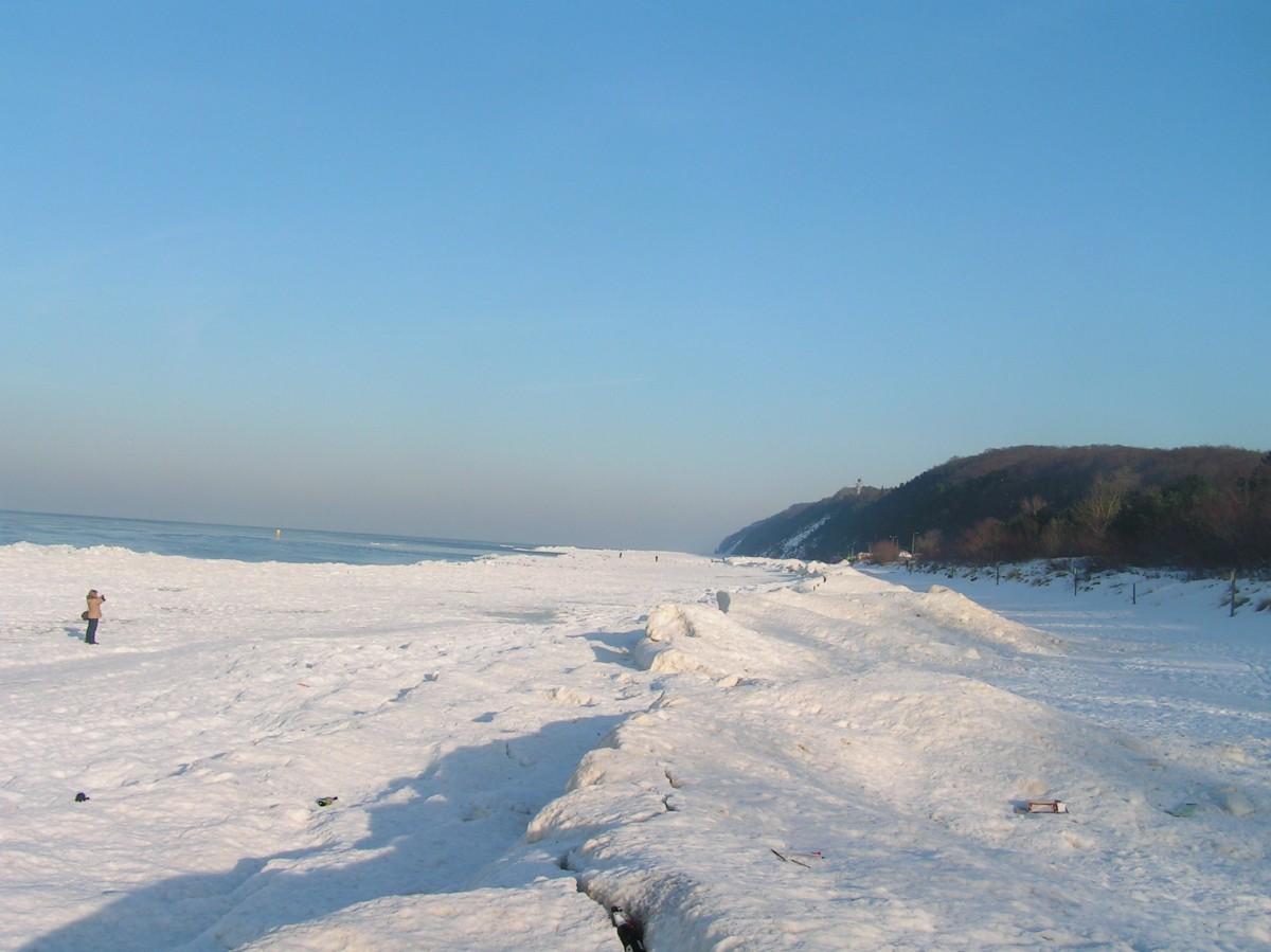 Międzyzdroje,plaża w zimie