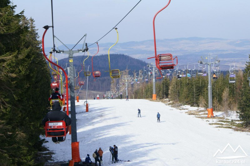 Wyciąg narciarski na Kopę wiosenną porą